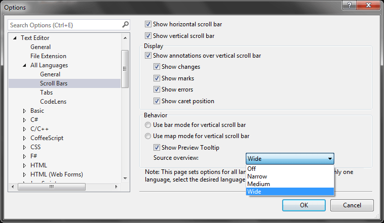 Scrollbar Preview Options
