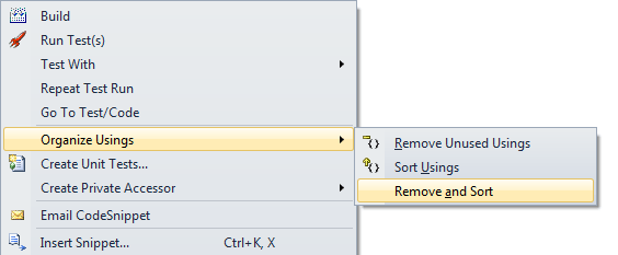 Visual Studio Remove and Sort
