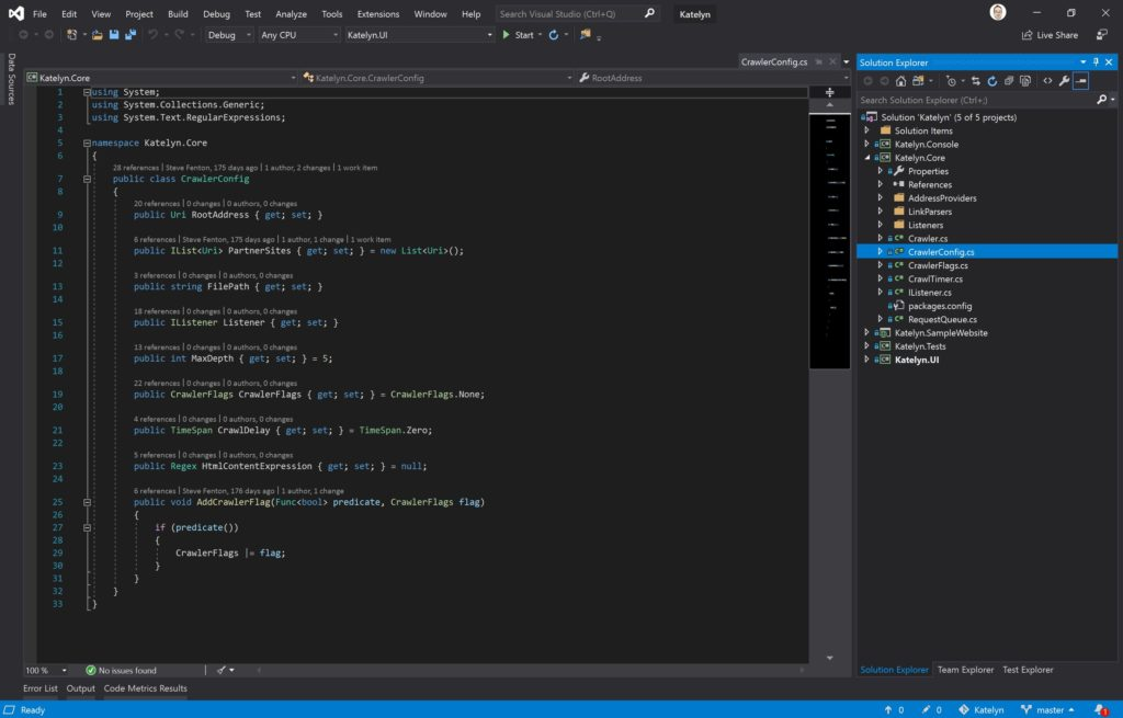 Visual Studio Layout with Properties Closed
