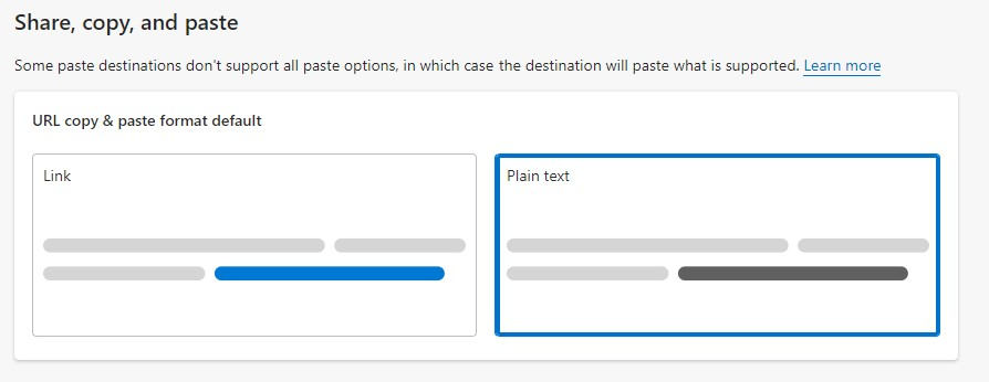 """Select """"Plain Text"""" To Switch Off Rich Links in Edge"""