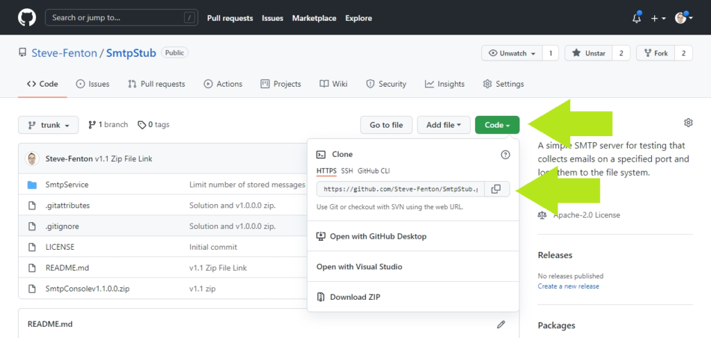 Obtain your GitHub repository URL from the Code tab in GitHub.