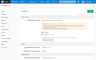 The Octopus Deploy configuration setting for Configuration-as-Code